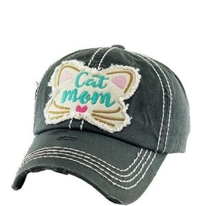 Cat Mom Hat Baseball Cap Distressed Embroidery